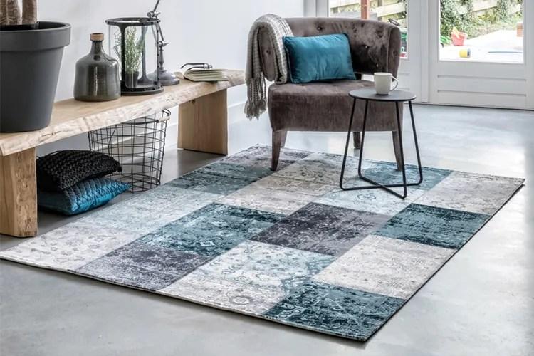 Patchwork vloerkleed in grijs- en blauwtinten (160 x 230 cm)