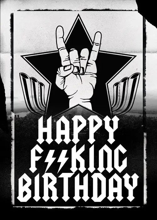 Heavy Metal Birthday Art Happy