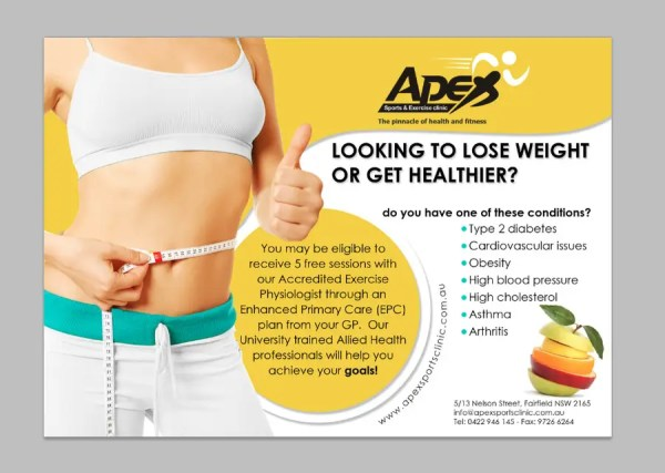 Design a small flyer for weight loss to leave at shop ...