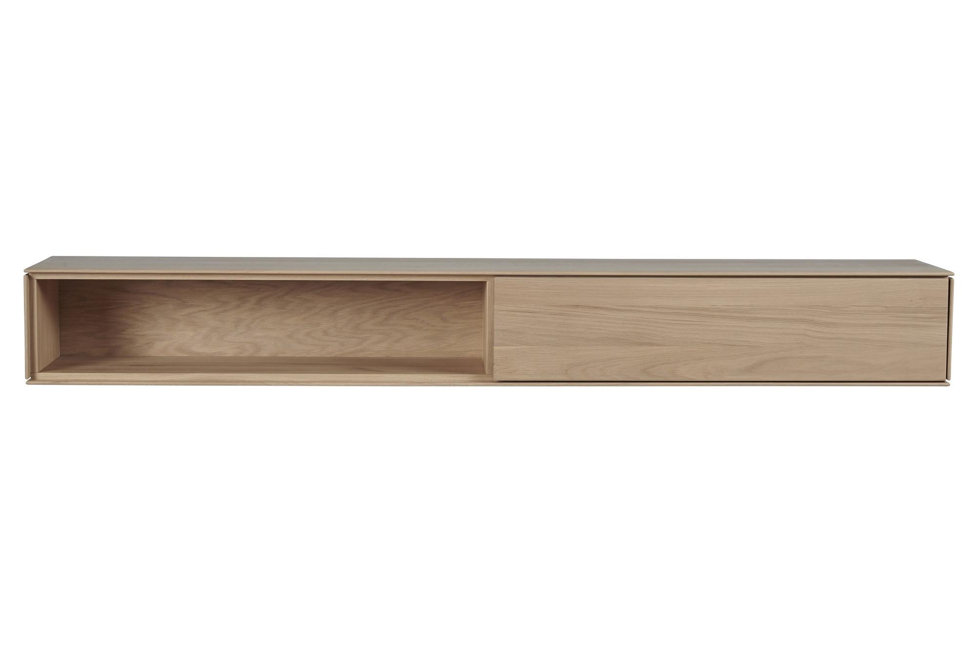 meuble tv suspendu en chene naturel niche et tiroir hellin