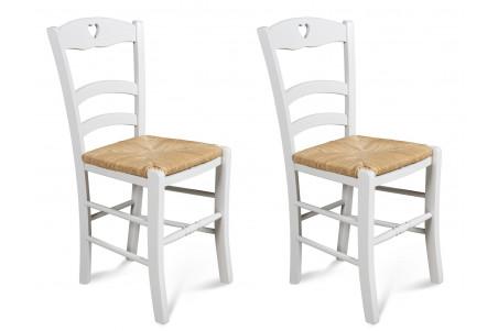 chaises en hetre silva coloris blanc lot de 2