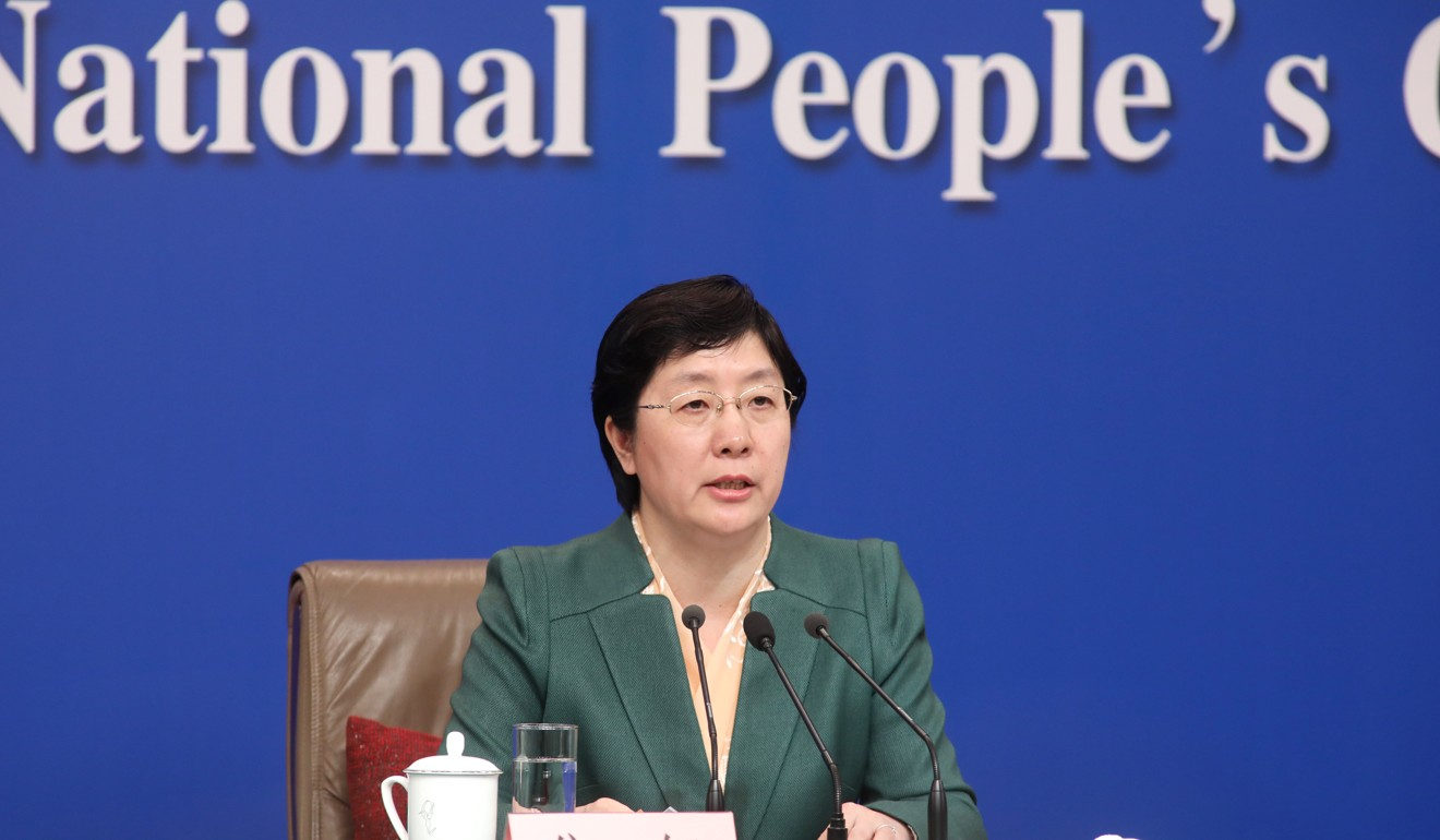 Jiao Hong, head of China's National Medical Product Administration, said a new law would improve regulation of the country's vaccine producers, at a press conference on the sidelines of the National People's Congress in Beijing. Photo: Simon Song