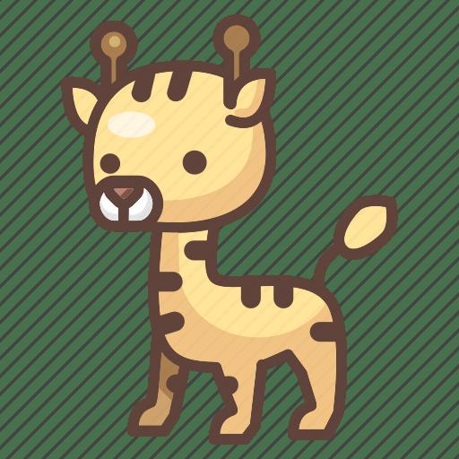 Cute Wildlife Animal Zoo Giraffe Safari Cartoon Icon