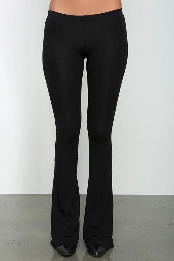 Cute Black Leggings Black Flare Leggings Jersey Knit