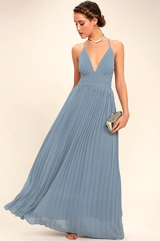 Stunning Dusty Blue Dress Pleated Maxi Dress Blue Gown