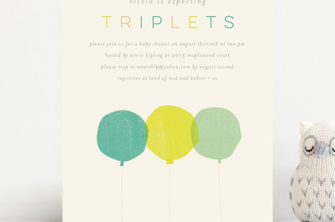 Triplets Customizable Baby Shower Invitations By Lori Wemple