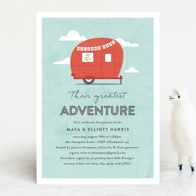 Cute Camper Baby Shower Invitations By