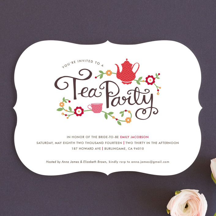 Tea Party Fl Botanical Whimsical Funny Bridal Shower Invitations In
