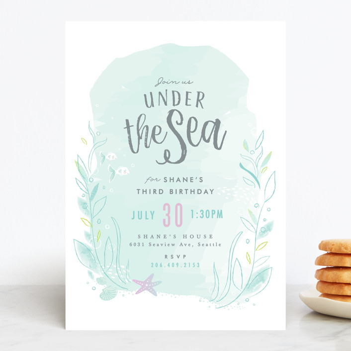 under the sea customizable children s birthday party invitations in blue by karidy walker