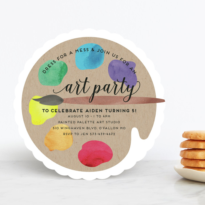 arty party customizable children s birthday party invitations by jen owens