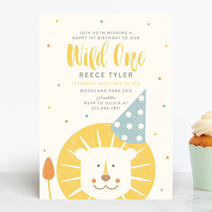wild one customizable children s birthday party invitations in yellow by lisa cersovsky