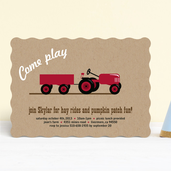 a tractor pull customizable children s birthday party invitations in brown by two ninjas