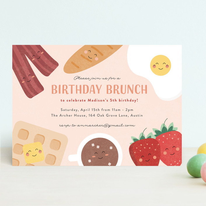 whole brunch customizable children s birthday party invitations in pink by erica krystek