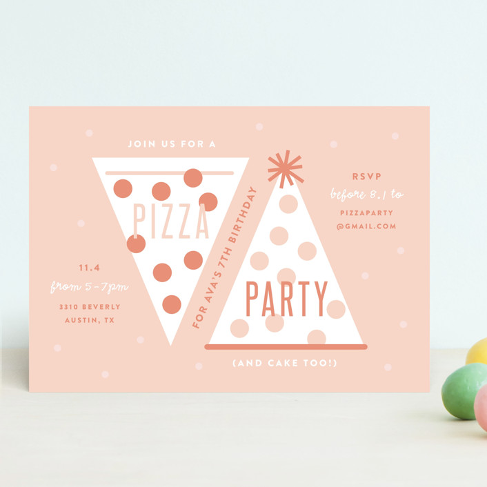 pizza party hat customizable children s birthday party invitations in pink by lauren chism