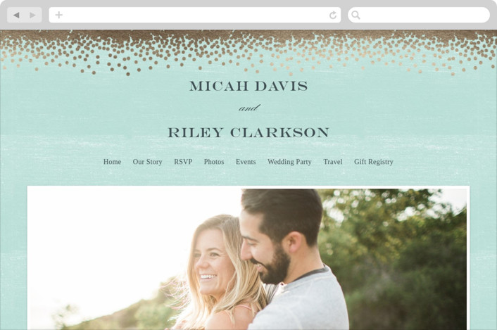Confetti Wedding Websites by Eric Clegg   Minted  Confetti    Wedding Websites in Teal by Eric Clegg