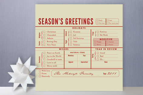 Season's Greetings Checklist Holiday Non-Photo Cards