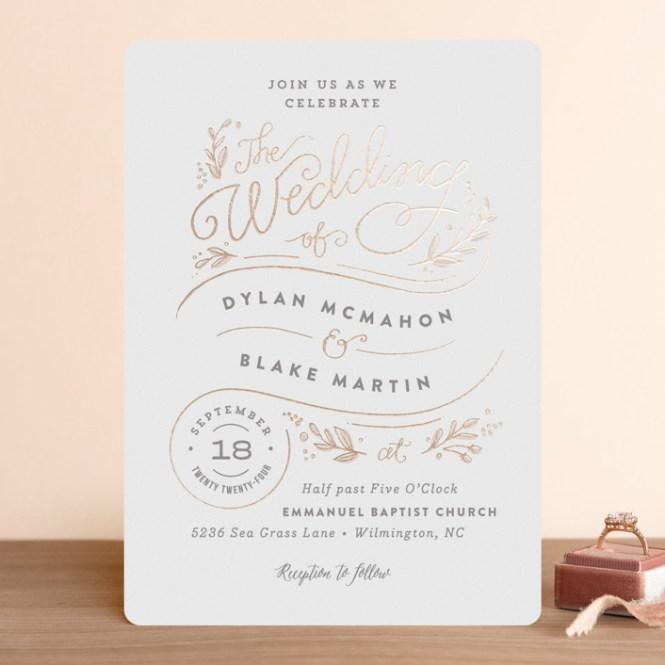 Rolling Names Foil Pressed Wedding