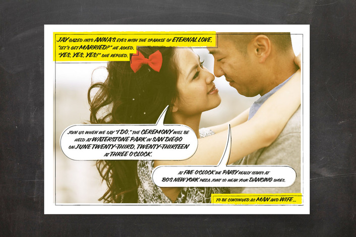 A Comic Book Love Story Wedding Invitations