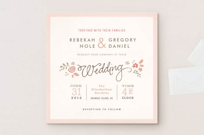Wedding invitation wording that wont make you barf offbeat bride pink blossoms wedding invitations stopboris Choice Image