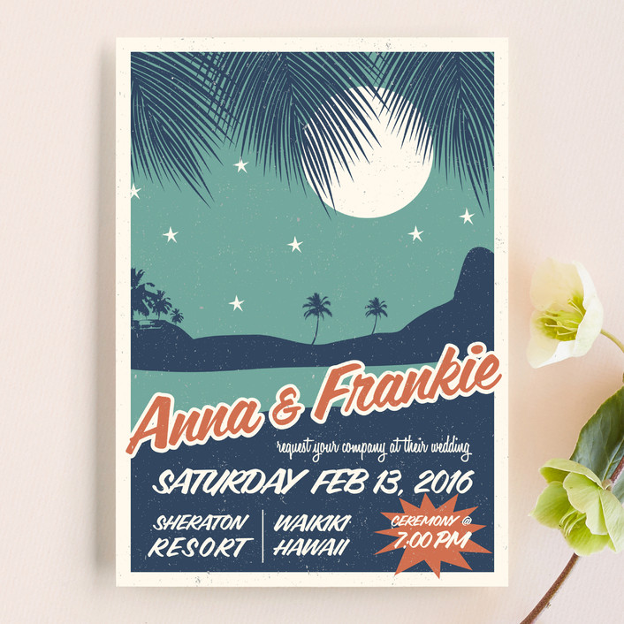 Retro Hawaii Wedding Invitations In Midnight Blue By Coco And Ellie Design