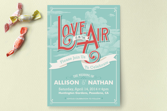 Casual wedding invitations and the insanity of writing out two love is in the air wedding invitations stopboris Choice Image
