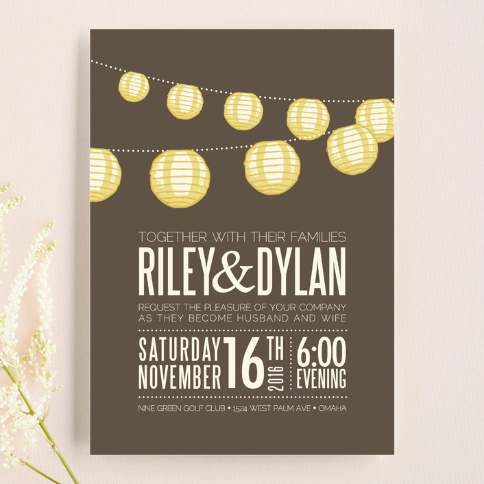 Paper Lanterns Rustic Bohemian Wedding Invitations In Latte By Pixel