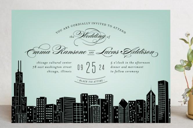 Center State Skyline 0 00 Gold Wedding Invitation