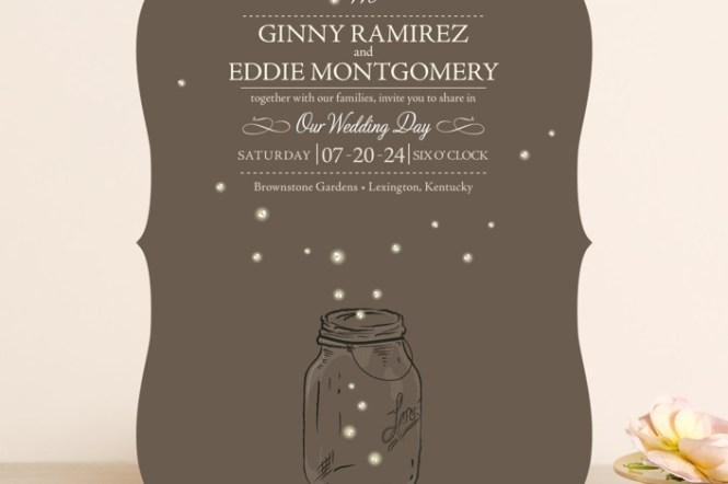 Black And White Tree Mason Jars Firefly Lights Wedding Invitation
