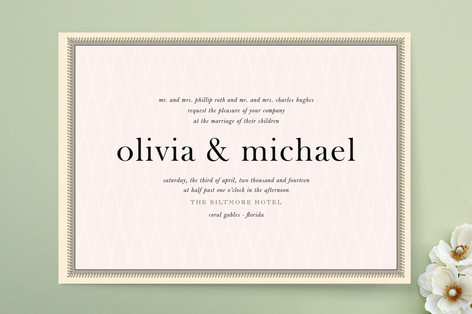 Wedding invitations for rose gold blush pink wedding for Rose gold winter wedding invitations