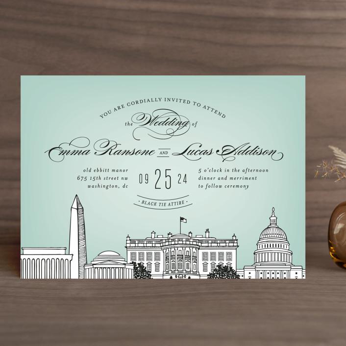 Big City Washington Dc Wedding Invitations In Mint Green By Ay Creative