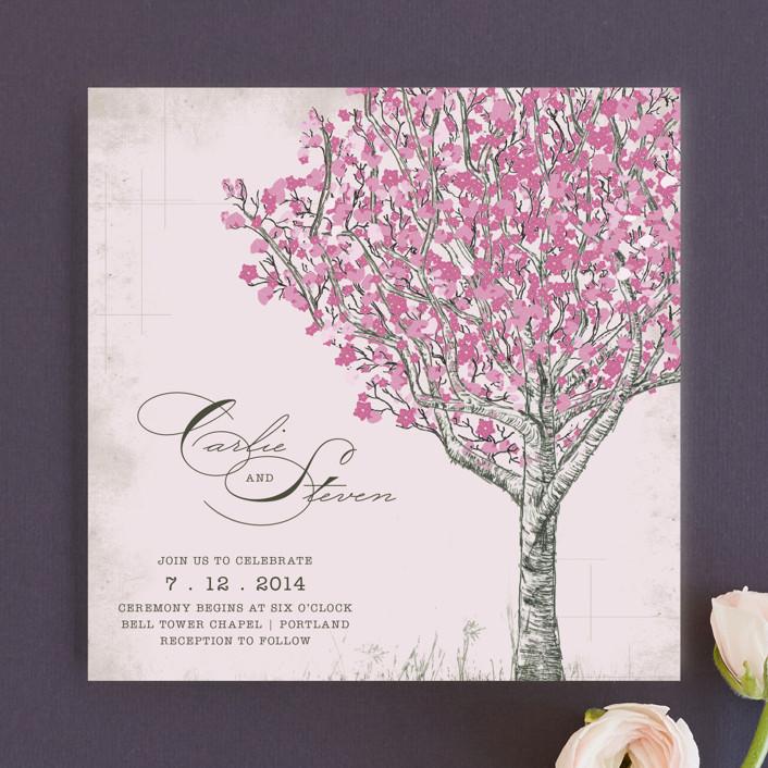 Cherry Blossom Rustic Wedding Invitations In Sweet By Jenifer Martino