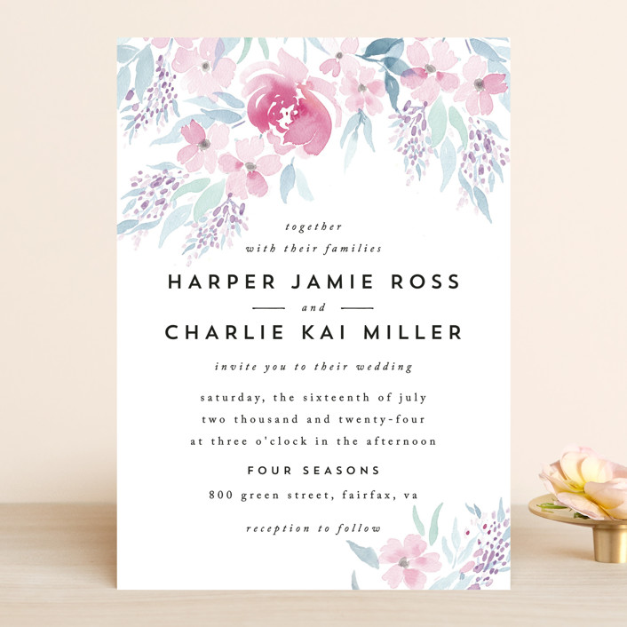Poetic Watercolor Flowers Wedding Invitations In Petal By Qing