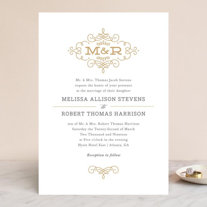 Ornate Monogram Monogrammed Elegant Wedding Invitations In Faux Gold By Kristen Smith