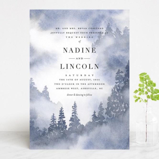 Misty Trees Wedding Invitations By