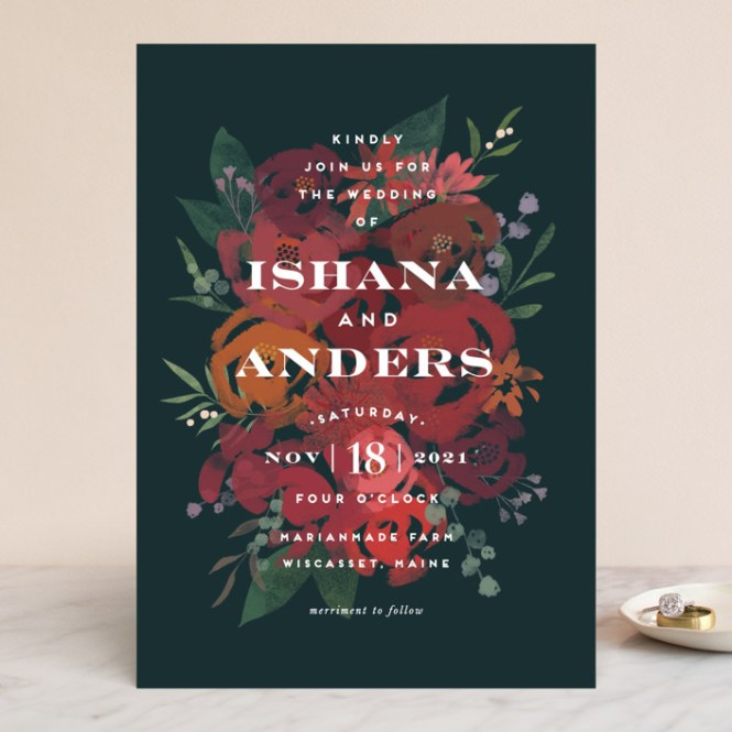 Midnight Garden Customizable Wedding Invitations In Blue By Jennifer Wick