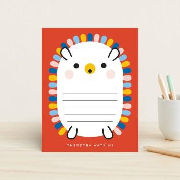 """Rainbow Hedgehog"" - Whimsical & Funny Children's Stationery in Crimson by Genna Blackburn."