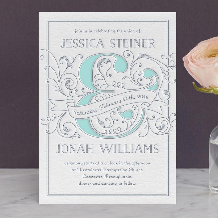Elegant Scrollwork Ersand Letterpress Wedding Invitations By