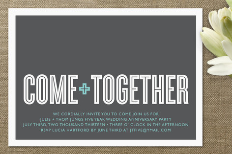 Come Together Anniversary Party Invitations By Wau Minted
