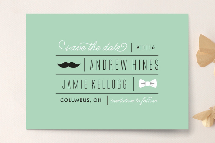 Married Mustache Save the Date Cards