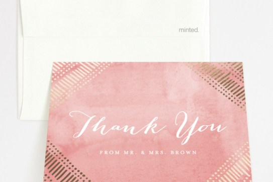 """Indigo Print"" - Bohemian Foil-pressed Thank You Cards in Navy by Pistols."