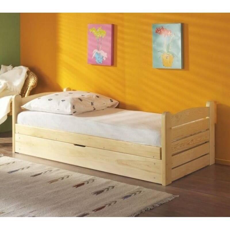 lit junior ola en pin massif avec coffre de rangement pour chambre enfant