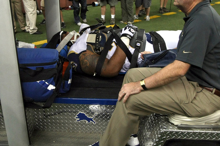 DETROIT, MI - SEPTEMBER 09:  Rodger Saffold is carted off the field after sustaining an injury during the fourth quarter against the Detroit Lions during the season opener at Ford Field on September 9, 2012 in Detroit, Michigan.   (Photo by Dave Reginek/Getty Images)