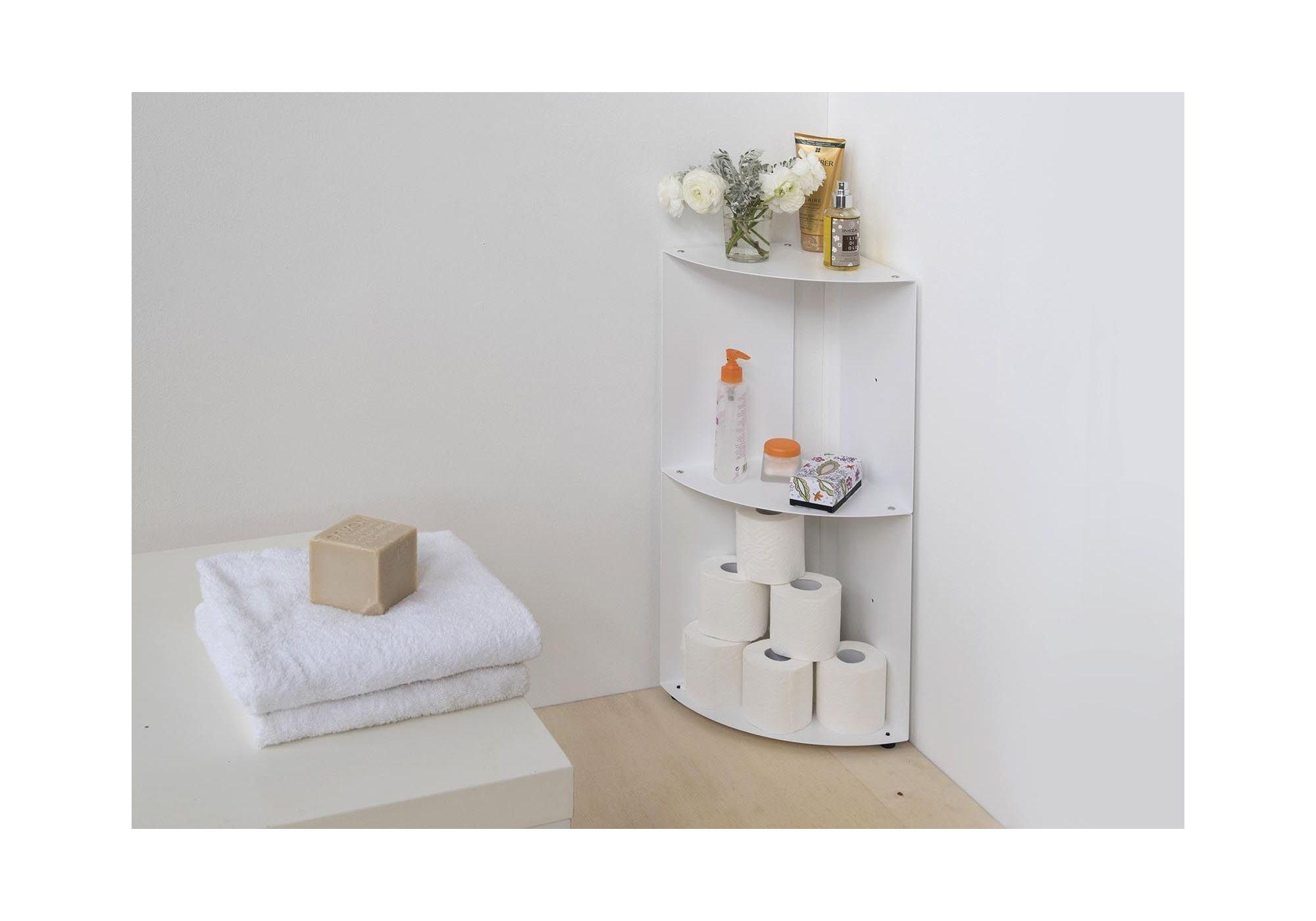 vente etagere angle salle de bain dangolo metal 25x25x70cm