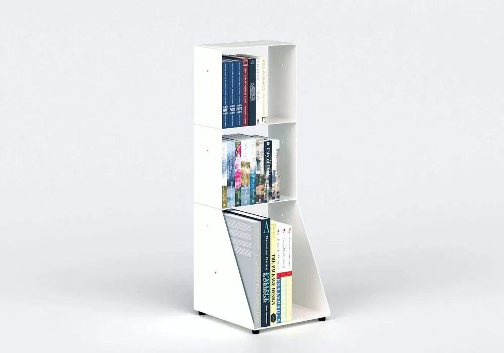 bibliotheque basse 30 cm metal blanc 3 niveaux