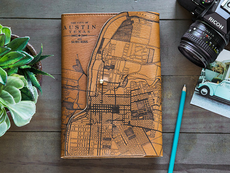 Leather Map Journal By Tactile Craftworks The Grommet