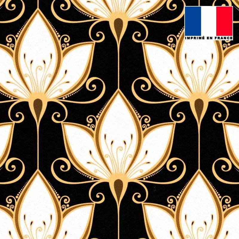 tissu occultant noir motif art deco lys