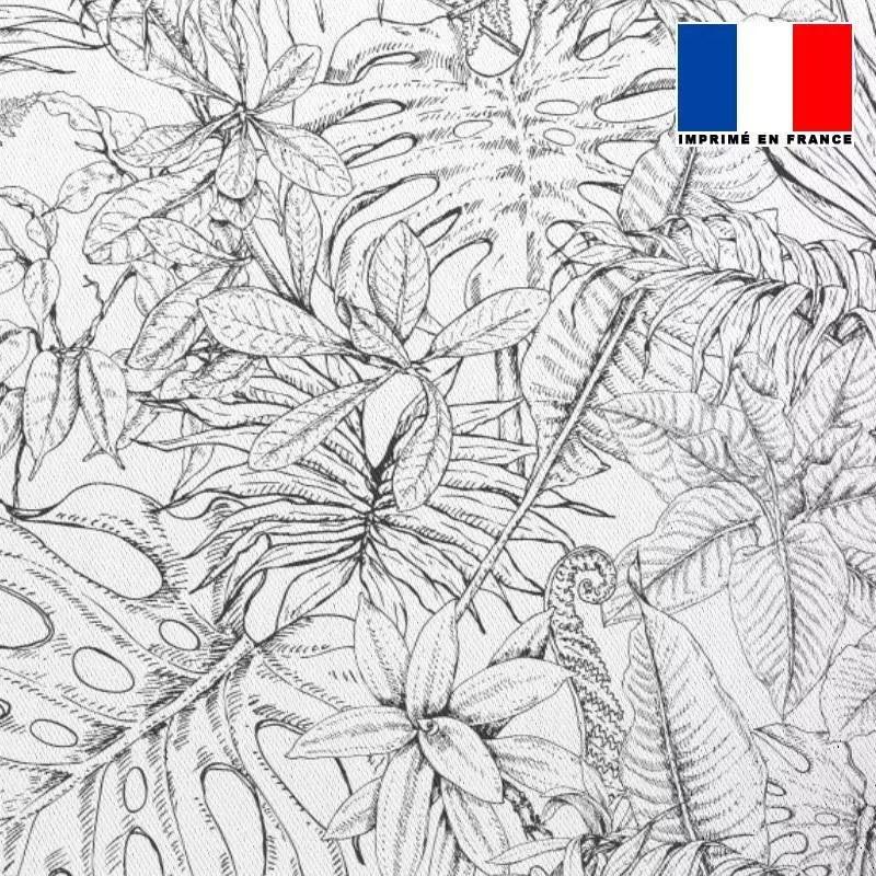 tissu occultant ecru motif jungle dessin