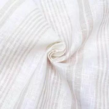 tissu lin naturel tissage rayures beiges tissu lin naturel tissage rayures beiges