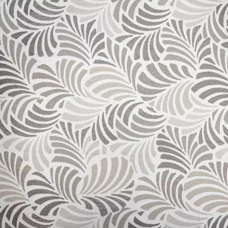 jacquard ecru motif feuille gris janis grande largeur