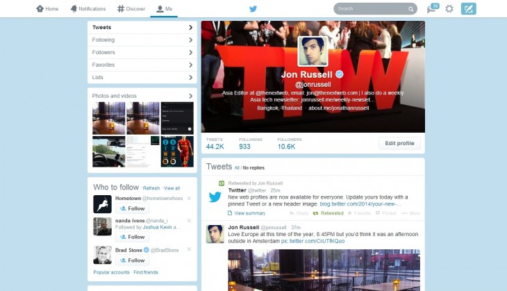 tw1 730x419 Twitters new Facebook like profile pages are now available to all users